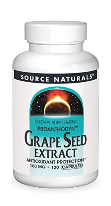 Source Naturals Grape Seed Extract, Proanthodyn 100 mg Antioxidant Protection & Supports Healthy Aging Brain - 120 Capsules