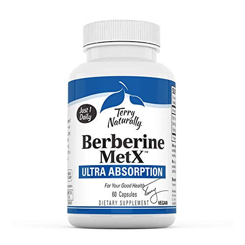 Terry Naturally Berberine MetX Ultra Absorption, 60 Capsules - Metabolic Support, Healthy Blood Sugar, Cholesterol & Triglyceride Levels - Non-GMO, Vegan - 60 Servings