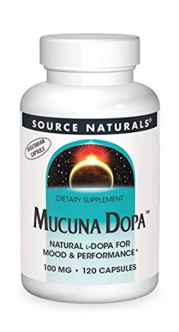Source Naturals Mucuna Dopa 100mg Natural L-Dopa or Velvet Bean - 120 Veggie Caps-1610739691