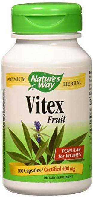 Nature's Way Vitex Fruit 400 milligrams, 100 Vegetarian Capsules. Pack of 1 Bottle