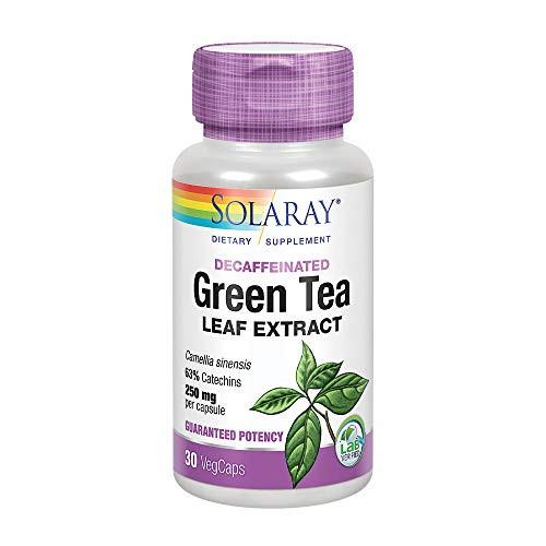Solaray Green Tea Leaf Extract 250 mg | Healthy Energy, Antioxidant, Mood & Mind Support | Decaffeinated | 30 VegCaps
