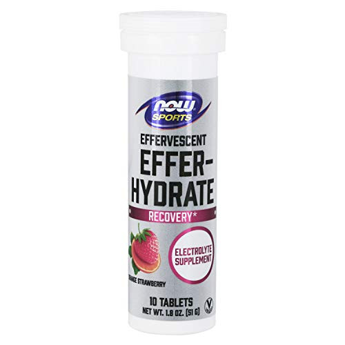 NOW Foods Sports Nutrition, Effervescent Effer-Hydrate, Electrolyte Supplement, Recovery*, Orange Strawberry, 10 Tablets