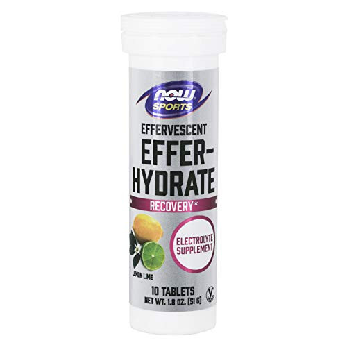 Now Foods Sports Nutrition, Effervescent Effer-Hydrate, Electrolyte Supplement, Recovery*, Lemon Lime, 10 Tablets