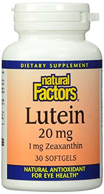 Natural Factors - Lutein 20mg, Natural Antioxidant to Support Eye Health, 30 Soft Gels