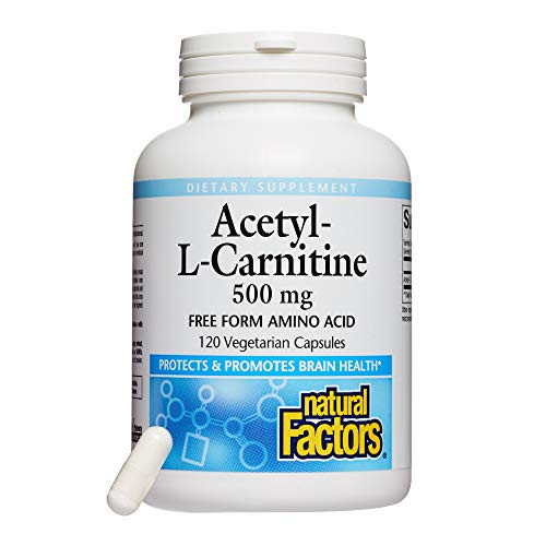 Natural Factors, Acetyl L-Carnitine 500 mg, Promotes a Healthy Memory, Concentration and Brain Function, 120 capsules (60 servings)