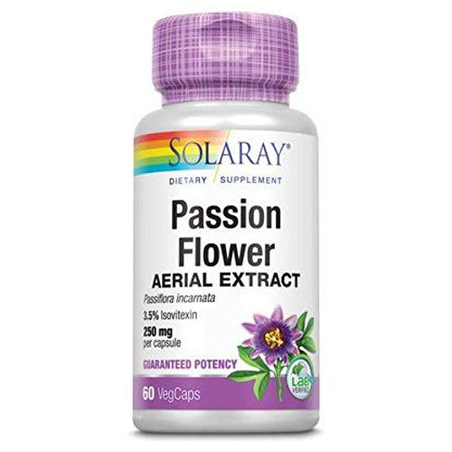 Solaray Passion Flower Extract Supplement, 250 mg | 60 Count