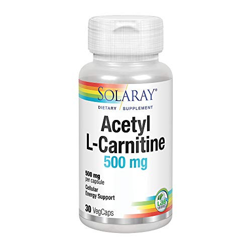 Solaray Acetyl L-Carnitine 500 mg   Healthy Cellular Energy, Memory, Mood, and Cardiovascular Support   30 VegCaps