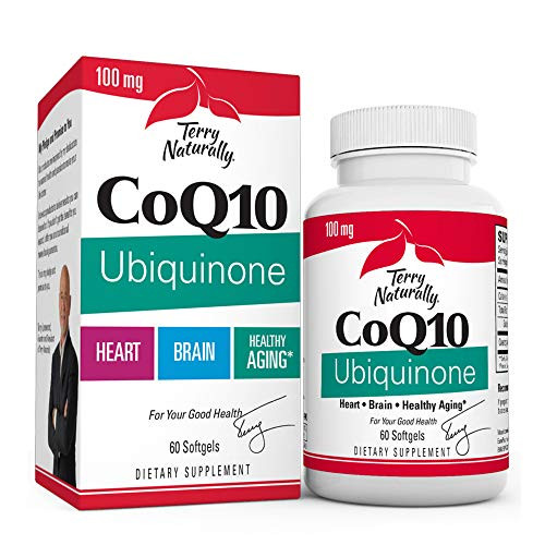 Terry Naturally CoQ10 Ubiquinone, 100 mg - 60 Softgels - Clinically-Studied Antioxidant - Beneficial for Heart, Brain, Liver, Kidneys & Oral Health - Lowers Risk of Oxidative Stress - 60 Servings