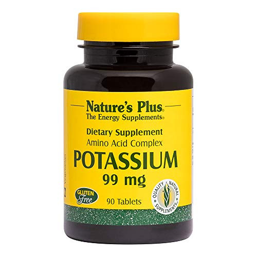 NaturesPlus Potassium - 99 mg, 90 Vegetarian Tablets - Essential Mineral Supplement, Promotes Healthy Electrolyte Balance & Heart Function - Gluten-Free - 90 Servings