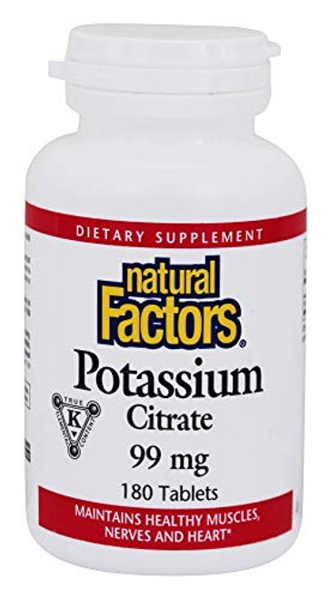 Natural Factors - Potassium Citrate 99mg, Supports Healthy Muscles, Nerves & Heart, 180 Tablets