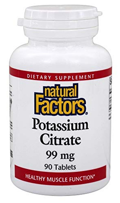 Natural Factors - Potassium Citrate 99mg, Supports Healthy Muscles, Nerves & Heart, 90 Tablets