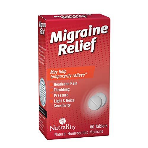 NatraBio Migraine Relief   May Help Temporarily Relieve Headache Pain, Light & Noise Sensitivity   Non-Drowsy Formula   60 Quick-Dissolve Tablets