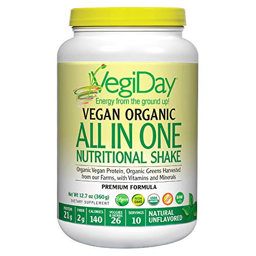 Natural Factors, VegiDay Vegan Organic All in One Shake & Go Raw Vegan Protein with Organic Superfoods, Natural Unflavored, 12.7 oz