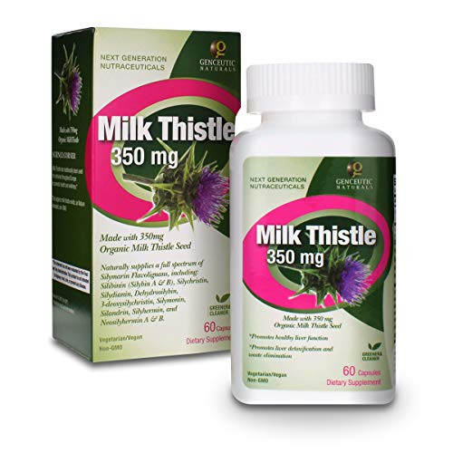 Genceutic Naturals Milk Thistle Organic Dietary Supplement Vegetarian Vegan Gluten Free Non GMO Ideal for Healthy Liver Detoxification and Glutathione Production - 350mg (60 Capsules)