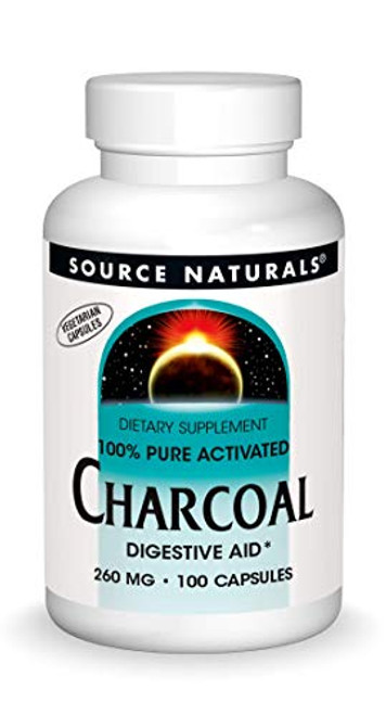 Source Naturals Charcoal - 100% Pure Activated, Digestive Aid - 100 Capsules