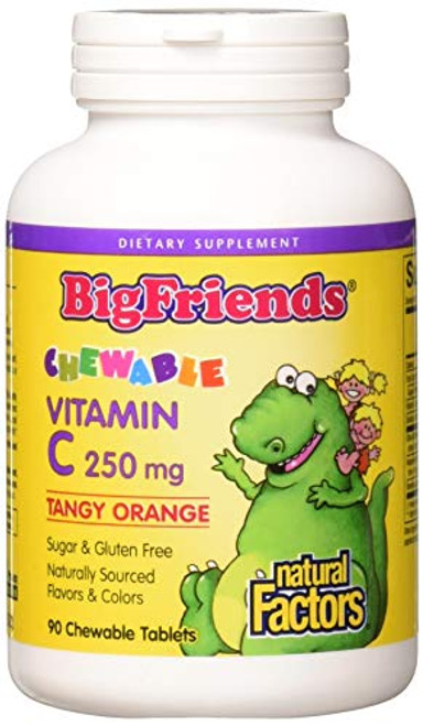 BigFriends by Natural Factors, Chewable Vitamin C 250 mg, Support for Healthy Bones, Teeth and Cartilage, Tangy Orange, 90 tablets (90 servings)