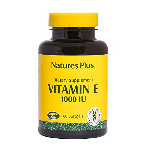 NaturesPlus Vitamin E - 1000 iu Alpha D-Tocopherol, 60 Softgels - Easy to Swallow Vitamin E Supplement, Derived from Natural Soybean Oil - Free-Radical Defense - Gluten-Free - 60 Servings