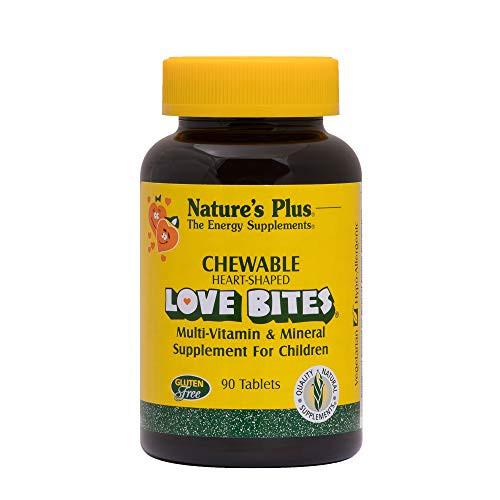 NaturesPlus Love-Bites Children's Chewable Tablets - 90 Heart-Shaped Tablets - Orange Pineapple - Multivitamin Supplement, Supports Natural Energy Prodution - Vegetarian, Gluten-Free - 90 Servings
