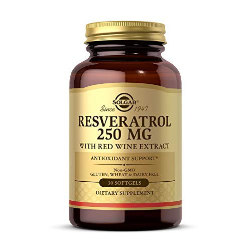 Solgar Resveratrol with Red Wine Extract, 250 mg, 30 Softgels - Antioxidant Protection - Immune Support - Red Wine Polyphenol - Non-GMO, Gluten Free, Dairy Free - 30 Servings