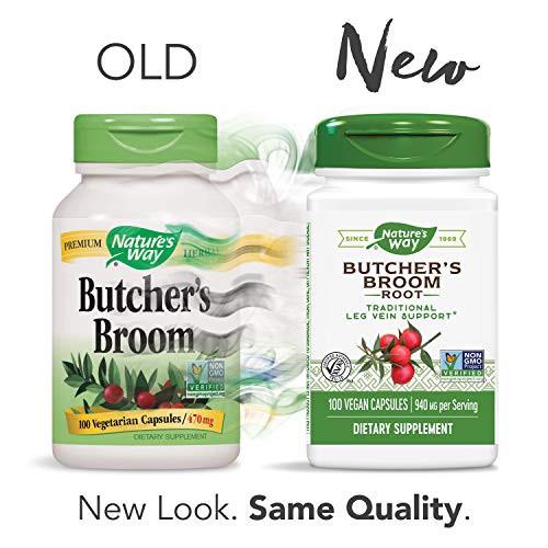 Nature's Way Butcher's Broom, 940 mg per serving, 100 Vegetarian Capsules