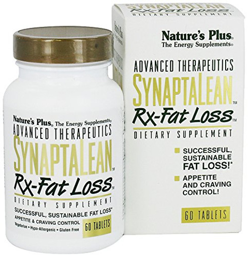NaturesPlus SynaptaLean Rx-Fat Loss - 60 Vegetarian Tablets - All Natural Appetite Suppressant, Supports Healthy Weight Management - Energy Booster - Gluten-Free - 30 Servings