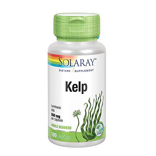 Solaray Kelp 550 mg with Folic Acid for Healthy Thyroid Function, Energy & Metabolism Support | Non-GMO | 100 VegCaps
