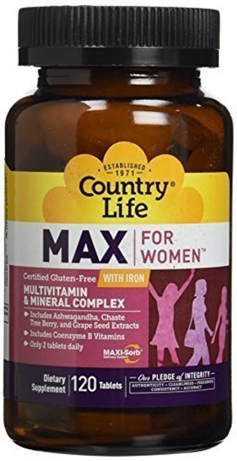 Country Life Max for Women Iron Free - 120 Vegetarian Capsules - Multivitamin & Mineral Complex - Coenzyme B Vitamins
