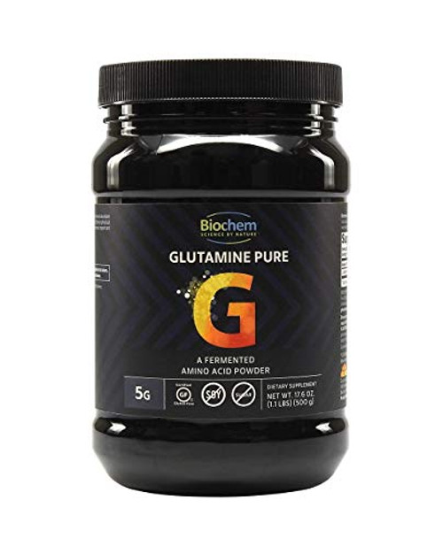 Biochem Glutamine Pure - 5g - Amino Acid Powder - Keto-Friendly - Promotes Muscle Tissue Support - Postworkout - Easy to Mix - Certified Gluten Free - Vegan