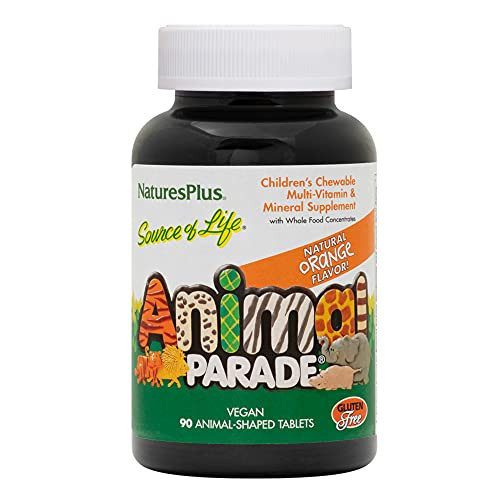 NaturesPlus Animal Parade Source of Life Children's Chewable Multivitamin - Orange Flavor - 90 Animal Shaped Tablets - Promotes Health and Wellbeing - Vegetarian, Gluten-Free - 45 Servings