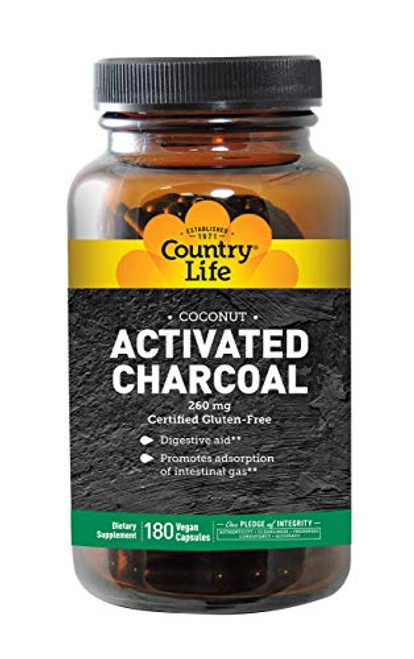 Country Life Natural Activated Charcoal - 260 mg 180 Capsules, Packaging May vary