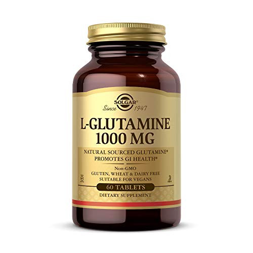 Solgar L-Glutamine 1000 mg, 60 Tablets - Natural Muscle Food - Promotes Gastrointestinal (GI) Health - Supports Brain Health - Non-GMO, Vegan, Gluten Free, Dairy Free, Kosher - 30 Servings