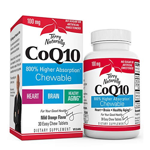 Terry Naturally CoQ10 Chewables, 100 mg - 30 Easy Chew Tablets - 8X Higher Absorbing CoQ10 - Powerful Antioxidant - Cellular Energy, Healthy Aging, Brain, & Heart Health - 30 Servings