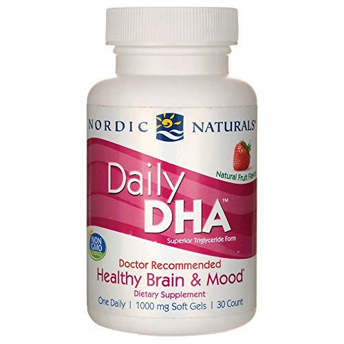 Nordic Naturals Daily DHA, Strawberry - 30 Soft Gels - 830 mg Omega-3 - Healthy Brain & Mood - Non-GMO - 30 Servings