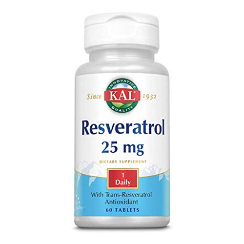 Kal 25 Mg Resveratrol Tablets, 60 Count