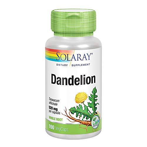 Solaray Dandelion Root 520mg   Healthy Liver, Kidney, Digestion & Water Balance Support   Whole Root   Non-GMO, Vegan & Lab Verified   100 VegCaps …