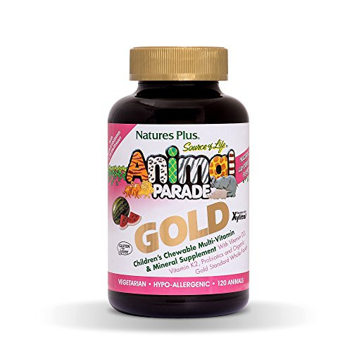 NaturesPlus Animal Parade Source of Life Gold Children's Multivitamin - Watermelon Flavor - 120 Chewable Animal Shaped Tablets - Immune Support Supplement - Gluten-Free - 60 Servings