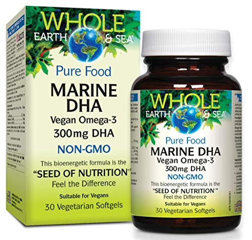 Whole Earth & Sea Marine DHA Vegan Omega-3 300mg DHA Natural Factors 30 Softgel