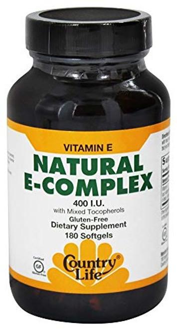 Country Life - Natural Vitamin E-Complex - 400 IU with Mixed Tocopherols - 180 Softgels
