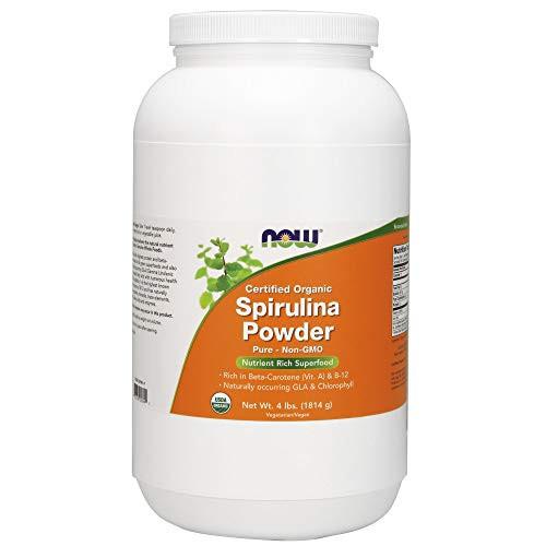 NOW Supplements, Organic Spirulina Powder with Beta-Carotene (Vitamin A) and B-12, 4-Pound