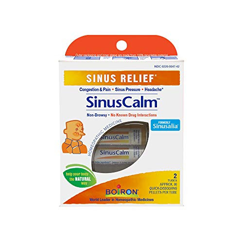 Boiron Sinuscalm Sinus Relief Medicine, Pellets for Runny Nose, Congestion, Sinus Pressure, Headache, 2 Tubes of Pellets, Non-Drowsy, 2 Count
