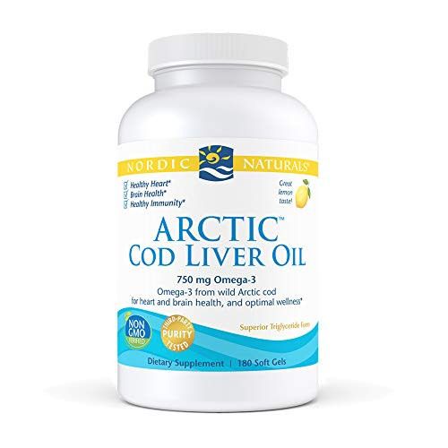 Nordic Naturals Arctic Cod Liver Oil, Lemon - 180 Soft Gels - 750 mg Total Omega-3s with EPA & DHA - Heart & Brain Health, Healthy Immunity, Overall Wellness - Non-GMO - 60 Servings