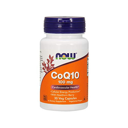 NOW Supplements, CoQ10 100 mg with Hawthorn Berry, Pharmaceutical Grade, All-Trans Form produced by Fermentation, 30 Veg Capsules