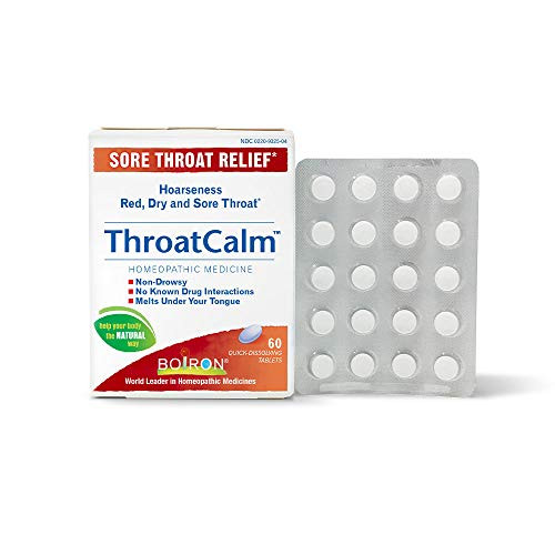 Boiron Throatcalm Tablets for Sore Throat Relief, 60 Count