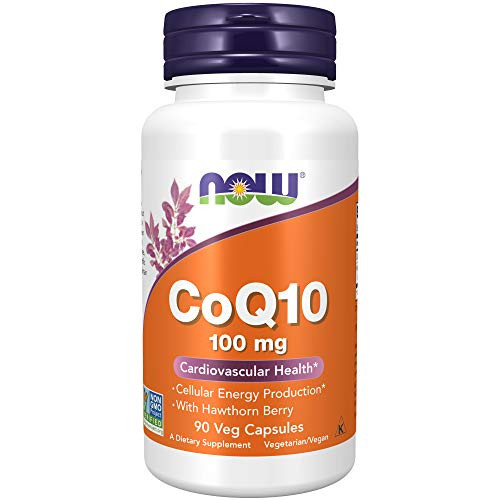 NOW Supplements, CoQ10 100 mg with Hawthorn Berry, Pharmaceutical Grade, All-Trans Form produced by Fermentation, 90 Veg Capsules