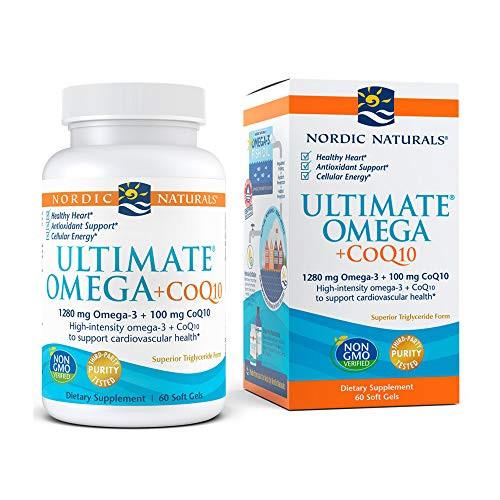 Nordic Naturals Ultimate Omega + CoQ10, Lemon - 60 Soft Gels - 1280 mg Omega-3 + 100 mg CoQ10 - Heart Health, Cellular Energy, Antioxidant Support - Non-GMO - 30 Servings