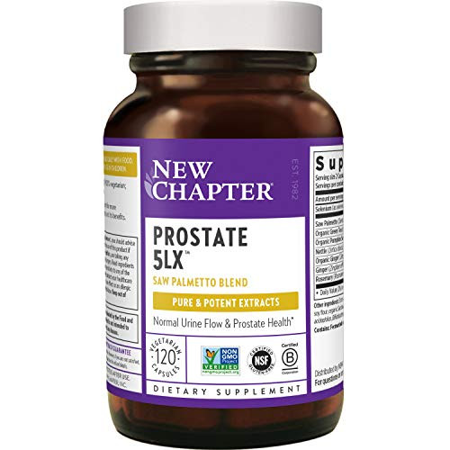 New Chapter Prostate Supplement - Prostate 5LX with Saw Palmetto + Selenium for Prostate Health - 120 ct Vegetarian Capsule-1610864854
