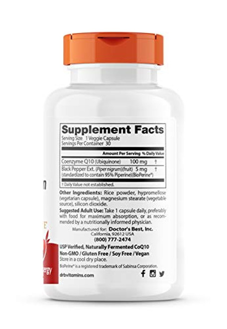 Doctor's Best High Absorption CoQ10 with BioPerine, Vegan, Gluten Free, Naturally Fermented, Heart Health & Energy Production, 100 mg 30 Veggie Caps