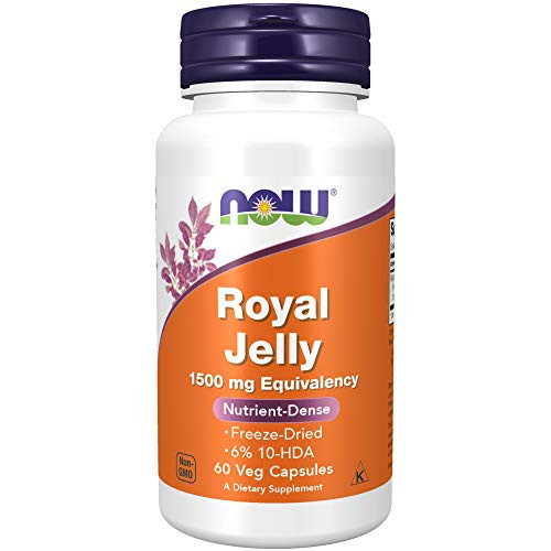 Now Supplements, Royal Jelly 1500 Mg With 10-Hda (Hydroxy-D-Decenoic Acid), 60 Veg Capsules