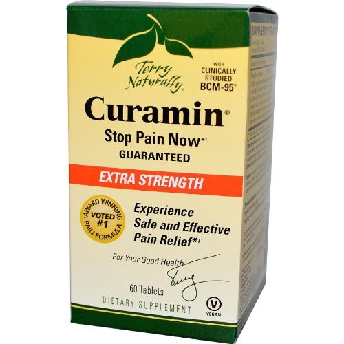 Terry Naturally Curamin Extra Strength - Non-Addictive Pain Relief Supplement with Curcumin from Turmeric, Boswellia & DLPA - Non-GMO, Gluten-Free - 20 Servings, 60 Count (Pack of 1)