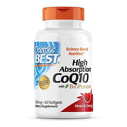 Doctor's Best High Absorption CoQ10 with BioPerine, Gluten Free Naturally Fermented, Heart Health & Energy Production, 100 mg, 60 SoFtgels